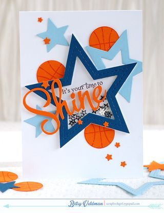 Time-to-shine masculine, sports, basketball shaker card by Betsy Veldman