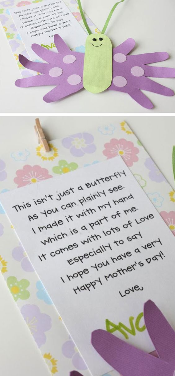 Mothers Day Butterfly Card and Poem | Click Pic for 22 DIY Mothers Day Craft Ideas for Kids to Make | DIY Mothers Day Crafts for Toddlers to Make