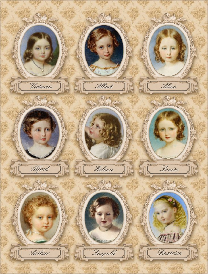 The 9 children of Victoria and Albert:  Princess Victoria, Prince Albert (later King Edward VII), Princess Alice, Prince Alfred, Princess Helena, Princess Louise, Prince Arthur, Prince Leopold, and Princess Beatrice.
