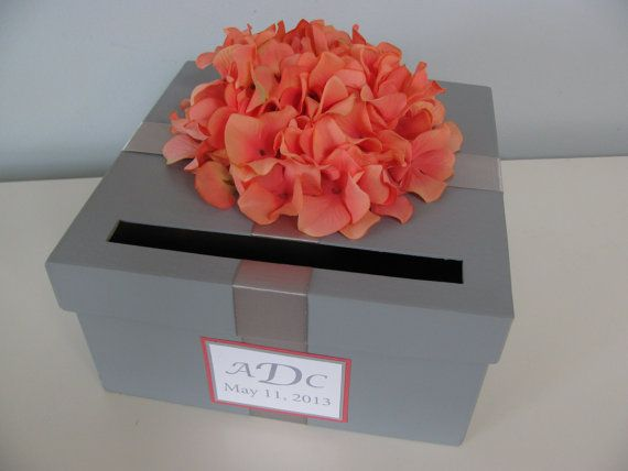 Gray Wedding Card Box with orange coral hydrangeas and personalized tag-