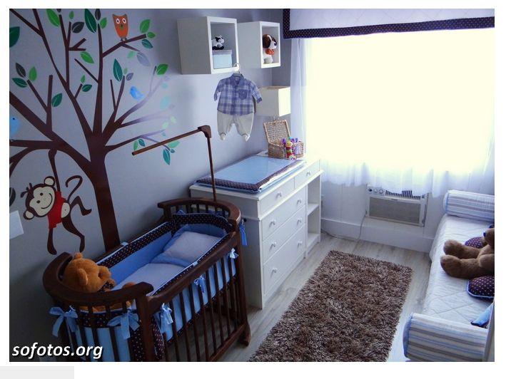 http://sofotos.org/fotos-de-quartos-de-bebe-decorados  Azul e macacos