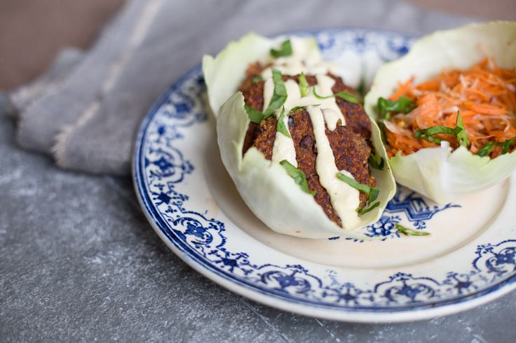Almond and Black Bean Burgers with Carrot Slaw - By Madeleine Shaw