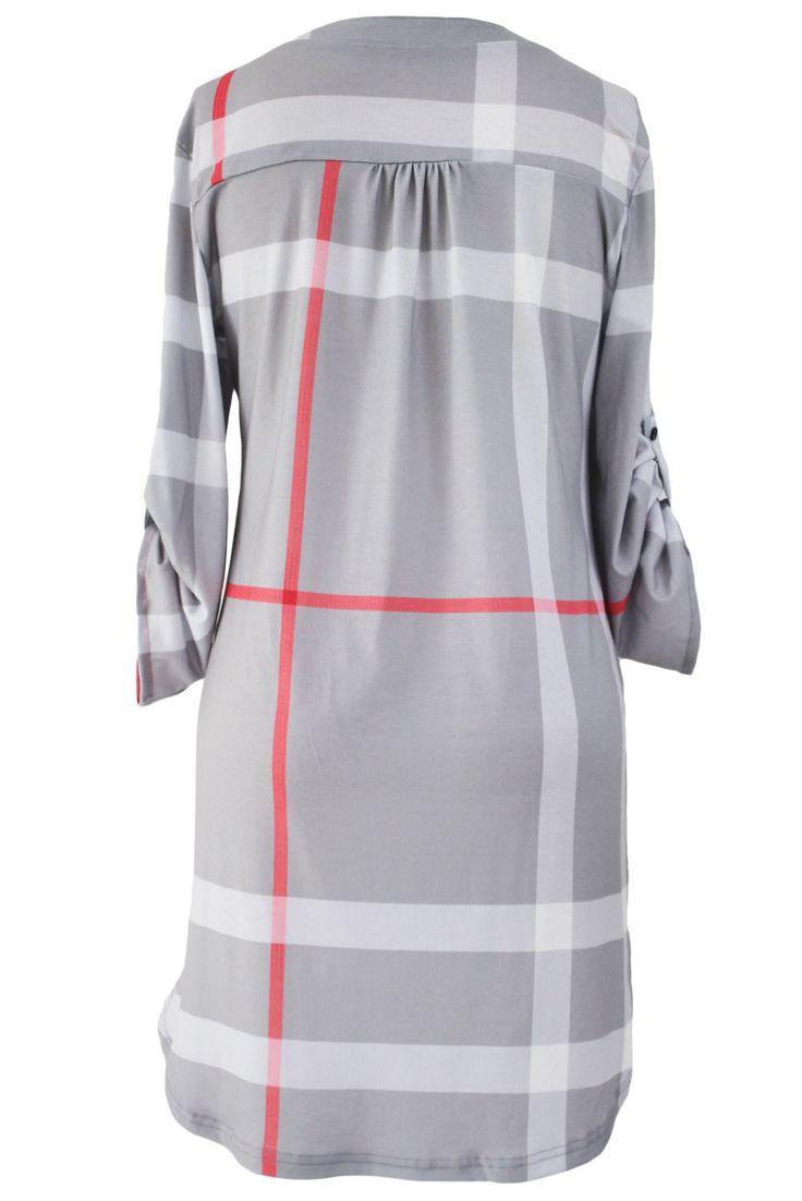 Prix: €15.67 Robe Chemise Tartan Ourlet Mini Gris Col en V Retrousser les Manches Pas Cher www.modebuy.com @Modebuy #Modebuy #Bleu #Blanc #robes #style