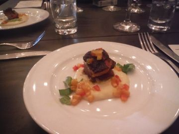 Fifth Course--Pig cheek with mashed potatoes and corn & celery chutney. Served with Espino Malbec. Oh. My. Pig.