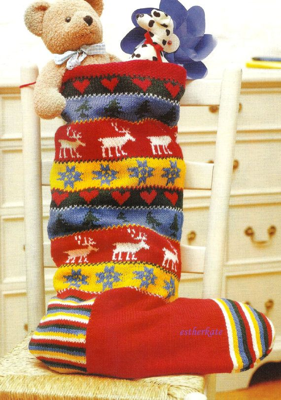 VINTAGE knitting pattern pdf, Fair Isle large Christmas stocking, INSTANT DOW...