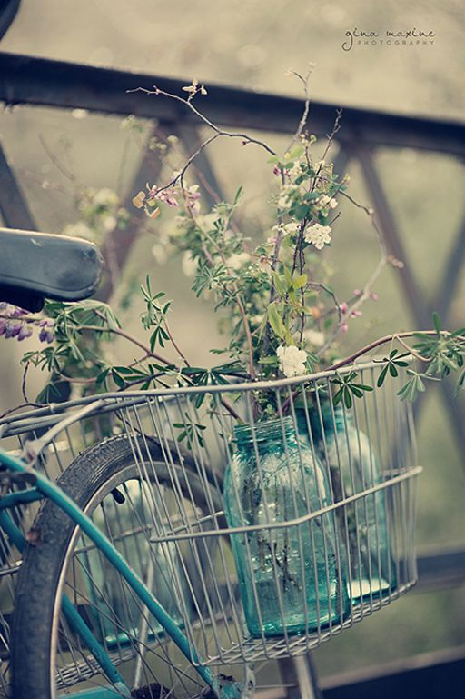 Vintage bicycle with wire basket and blue mason jars with flowers. Sweet!