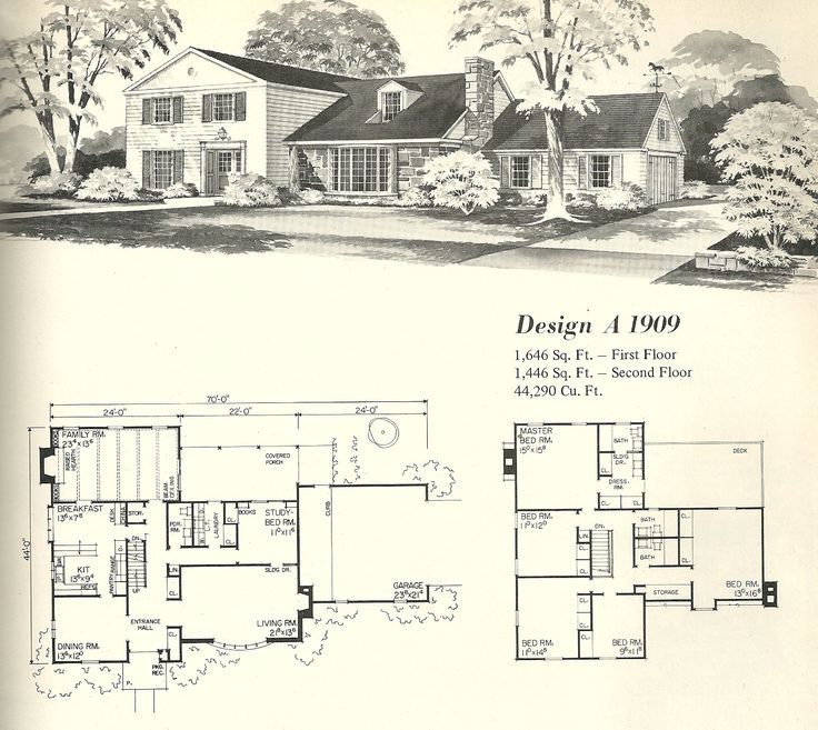 vintage house plans early colonial - Vintage Farmhouse Plans
