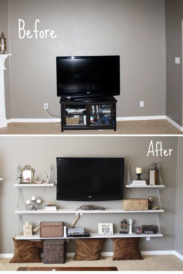 Good Decor Idea So Your Tv Doesn T Stick Out Like A Sore Thumb On