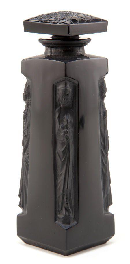 R. LALIQUE BLACK GLASS AMBRE PERFUME BOTTLE