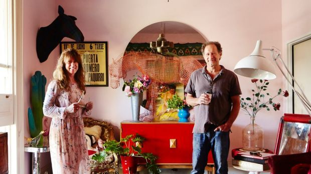 Jenny Keys and Peter Nyaryin their upstairs lounge room. A wire horse sculpture by Tom Ripon stands upon a vintage sideboard. Photo: Armelle Habib