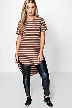 Plus Leanne Striped Oversize Tee