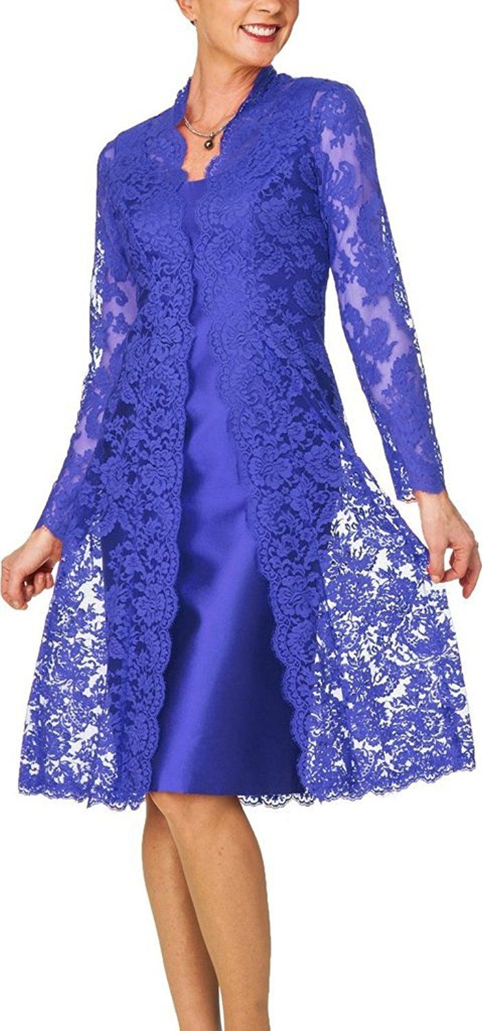 H.S.D Women's Sheath Short Satin Mother of the Bride Dress with Lace Jacket ** Unbelievable item right here! : Mother of the Bride
