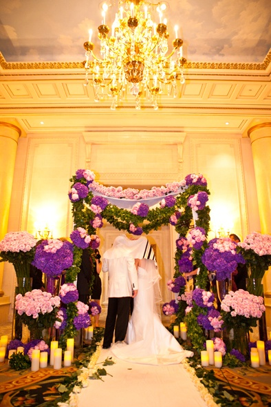 @Four Seasons Hotel George V Paris Artistic Director Jeff Leatham decorated Andrea and Blake's chuppah in a vibrant, modern palette of purple, lavender, pink and fuchsia.: Decor Wedding, Wedding Styles, Ceremony Decor, Wedding Chuppah, Jewish Weddings, Decor Chuppah, Bride, Chuppah Floral, Blake Chuppah
