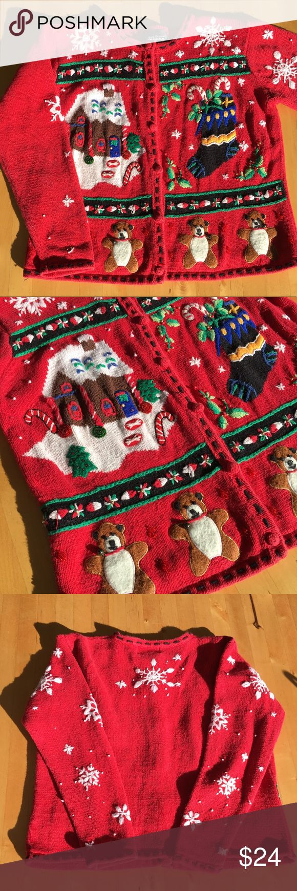 Ugly Christmas cardigan This has to be the cutest but ugliest Christmas cardigans (๑˃̵ᴗ˂̵) Those bears with bells on them are just too cute!!!  Size M. Vintage condition. No holes or stains. Sweaters Cardigans