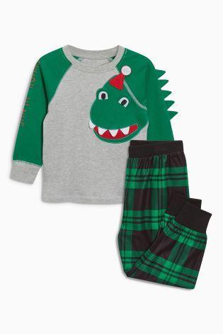 Comprar Pijama en gris con diseño de navidad de dinosaurio (9 meses-8 años) de Next España