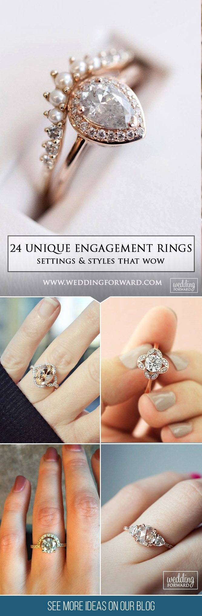 24 Unique Engagement Rings That Wow ❤ We've rounded up unique engagement rings in different settings and styles for your inspiration! See more: http://www.weddingforward.com/unique-engagement-rings/ #wedding #unique #engagement #rings