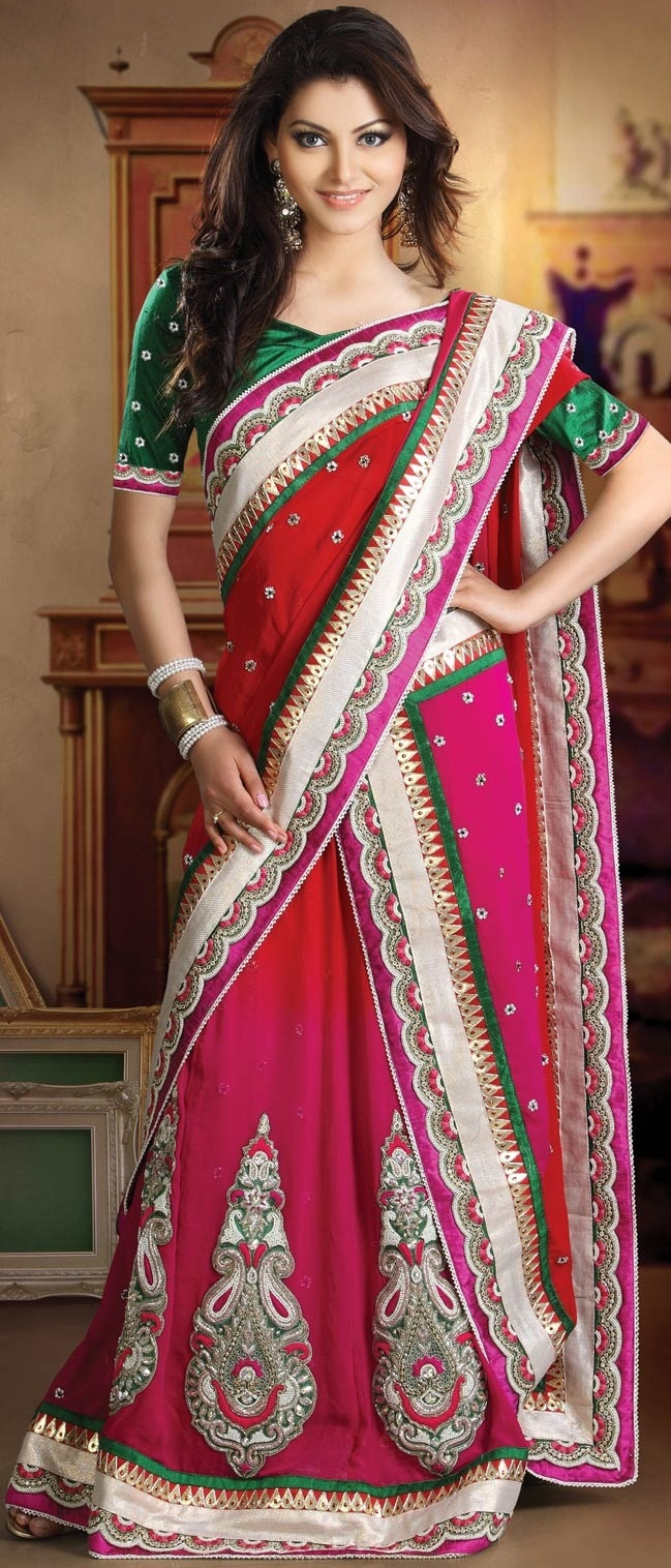 #Red and #Pink Pure Georgette #Lehenga Style #Saree With Blouse @ $431.36   Shop Now @ http://www.utsavfashion.com/store/sarees-large.aspx?icode=skk13450