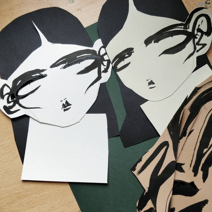 Always head first. . . . . . . . . . . . . . . . . . . . . . . . . . . . . . . . #illustration #illustrator #fashionillustration #fashionillustrator #art #artist #desk #process #wip #head #model #makeup #collage #ink #drawing