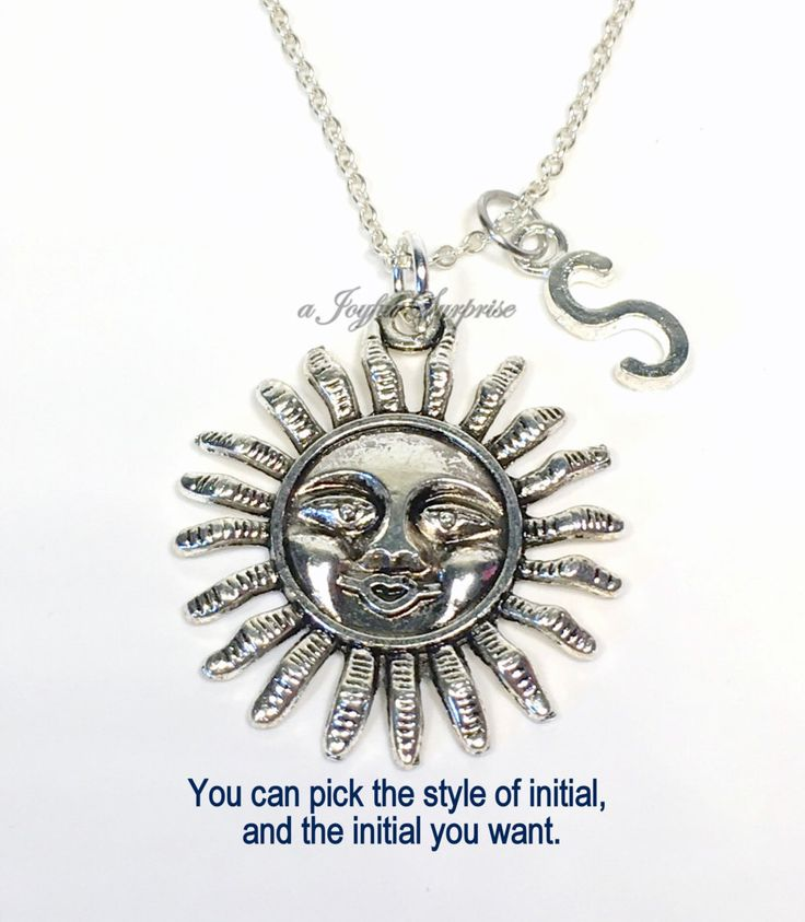 SALE  Smiling Sun Necklace, Sun Jewelry, Gifts for Sunshine Gift, Summer Jewelry, Solar Gift, Sunny Positive Vibes Necklace with initial 14  A personal favorite from my Etsy shop https://www.etsy.com/ca/listing/252132191/sale-smiling-sun-necklace-sun-jewelry