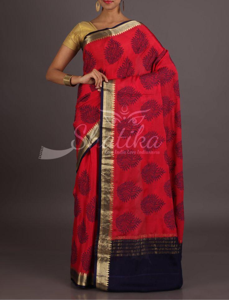 Diya Deep Red With Bold Motifs All Over Zari Border Pure Mysore Chiffon Saree
