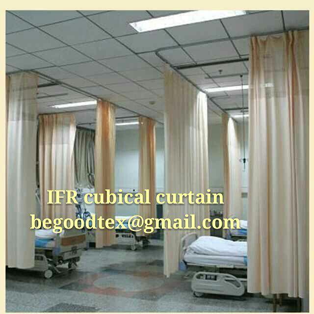 Inherent fire flame retardant cubical hospital curtain.