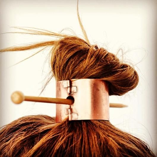 Such a neat idea! Copper top knot clasped band.