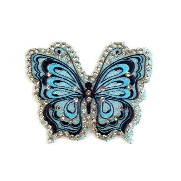 Aufbügler Schmetterling mit Steinchen – türkis