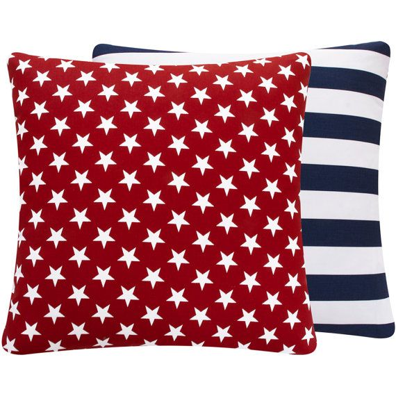 American Flag Pillow 20x20 Fourth of July, Stars and Stripes Collection via Etsy