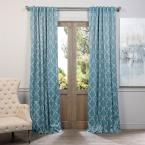 Exclusive Fabrics & Furnishings Seville Dusty Teal Blackout Curtain - 50 in. W x 96 in. L (Pair), Multi