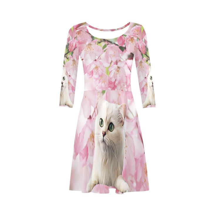 Cat and Flowers 3/4 Sleeve Sundress. Material: 92% Polyester, 8% Spandex, well made lightweight soft fabric, skin-friendly. Sizes: XS, S, M, L, XL, XXL, XXXL.FREE Shipping. #beoriginalstore #dresses