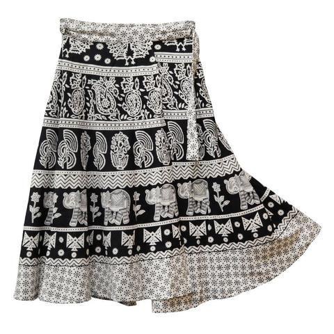 """Wraparound Skirt - Black & White - 31"""""""