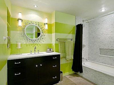 Love This Lime Green And Yellow Modern Bathroom. It Looks So Clean And  Vibrant!