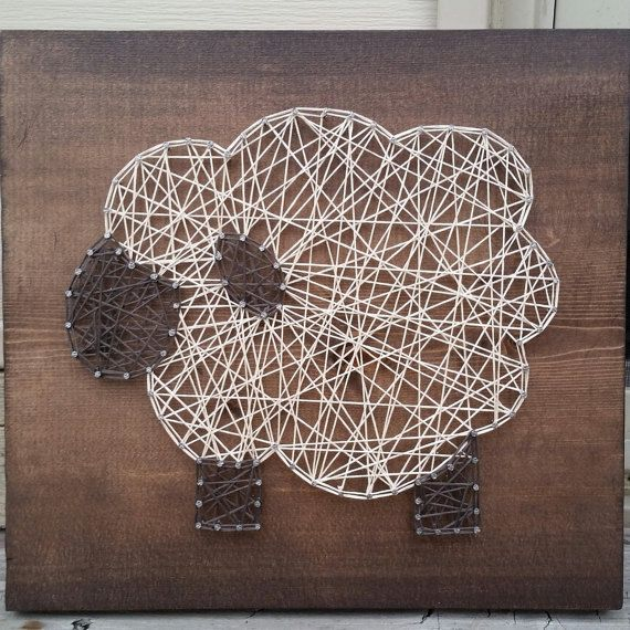 Made to order nail and string art lamb sign for nursery decor by blossomingburlap on etsy