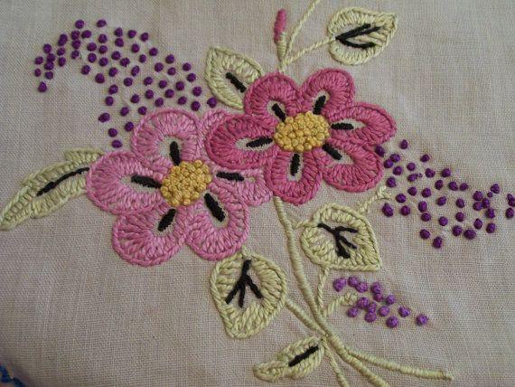 Corredor bordado Vintage rosa flores borde por FabVintageEstates Mais
