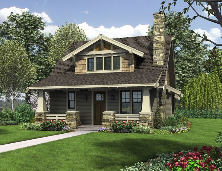 This cozy craftsman cottage house plan is perfect for a small lot. It's compact footprint of 30' x 51' is so well proportioned and amenity filled you'll swear it's twice its size. Master suite on first floor, covered front porch and open floor plan are just a few highlights of House Plan 5188. http://www.thehousedesigners.com/plan/the-morris-5188/