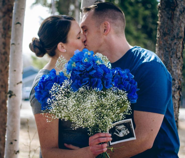 Baby boy gender reveal picture announcement idea
