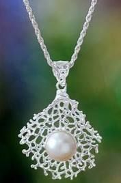 Pearl pendant necklace, 'White Coral' $127.99