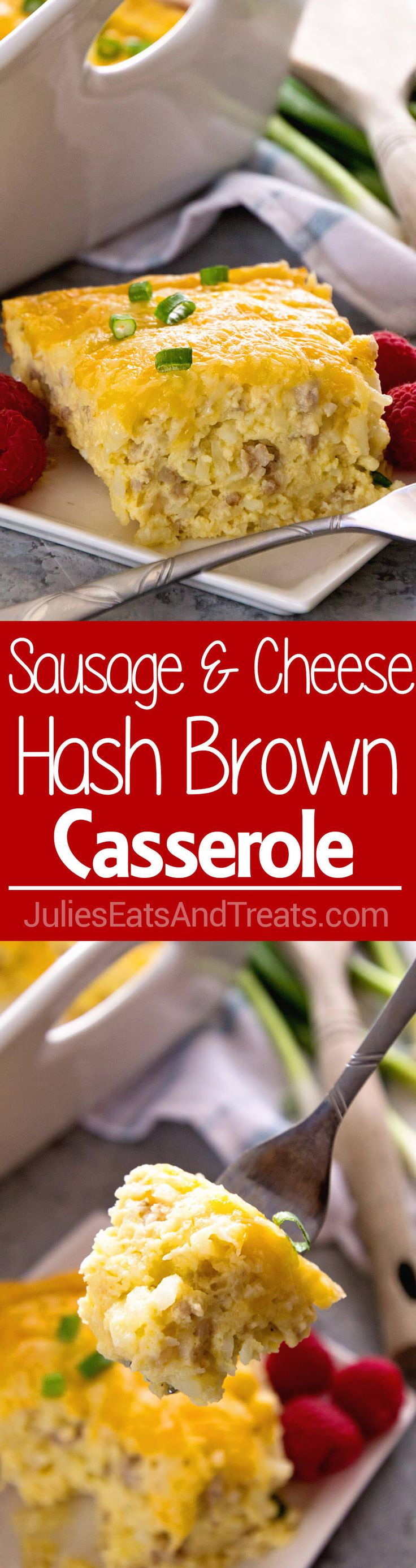 Sausage & Cheese Hash Brown Breakfast Casserole ~ Delicious Overnight Breakfast Casserole with Sausage, Hash Browns, Cheese and a Homemade Gravy! The BEST Breakfast Casserole Ever! via @julieseats