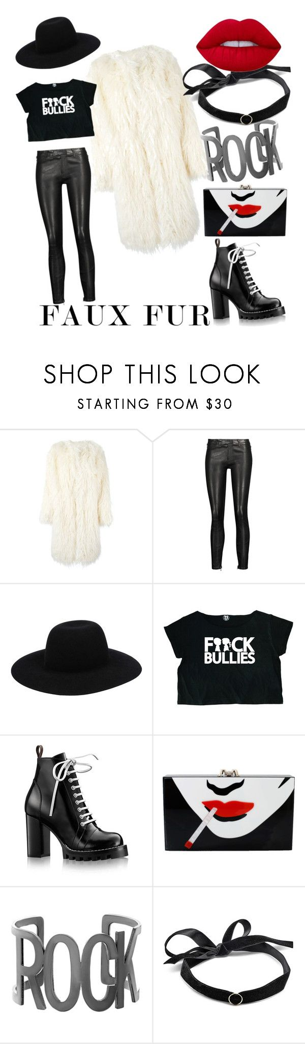 """Faux fur rocks"" by marusyaorlova ❤ liked on Polyvore featuring DKNY, J Brand, Off-White, Boy Meets Girl, Louis Vuitton, Charlotte Olympia, Steve Madden, Mateo and Lime Crime"