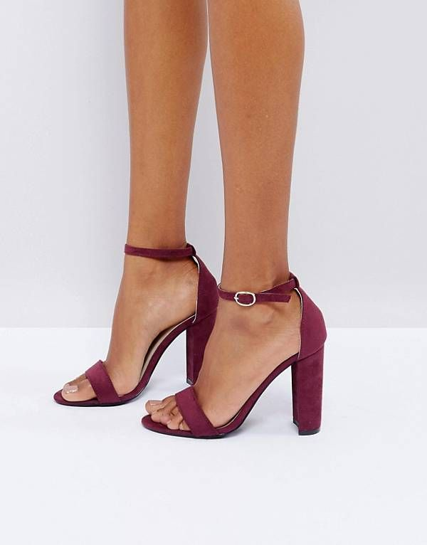 8d0de9bd65b Glamorous Burgundy Barely There Block Heeled Sandals
