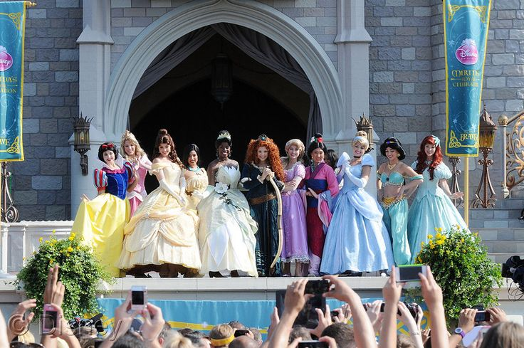 All eleven official Disney princesses, at Merida's royal celebration in Disneyland