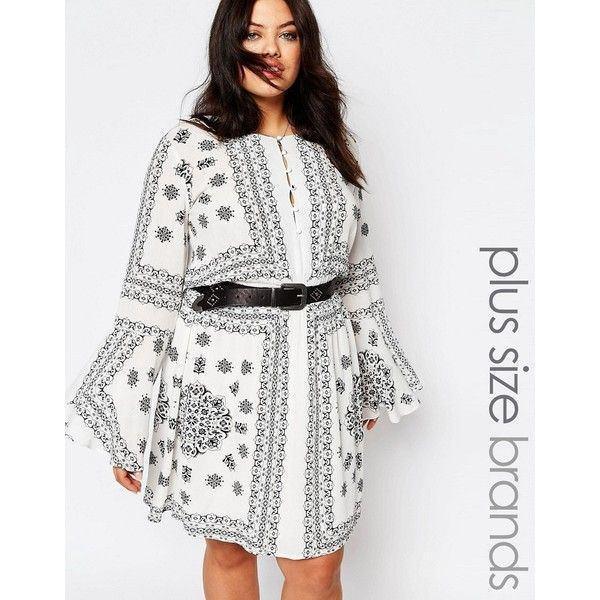 Missguided Plus Border Print Swing Dress ($44) ❤ liked on Polyvore featuring dresses, navy, plus size, plus size white dress, plus size swing dress, navy blue dress, white dress and neck ties