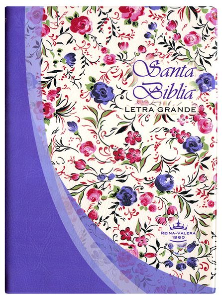 Biblia RVR042cLG - Vinil - Violeta con flores