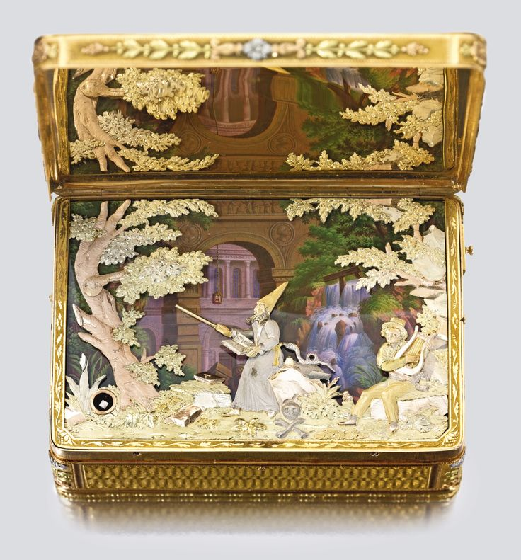 The Celebrated King Farouk Magician Box. A Superb Four Color Gold and Musical Automaton Magician Snuff Box. Attributed to Piguet & Meylan, Goldsmith's Mark ...