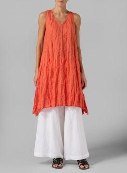 Linen Sleeveless Crumple Effect Long Blouse. Natural style.