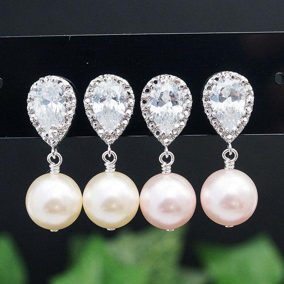 Pearl Jewelry Pearl Earrings Bridal Earrings Bridesmaid Earrings CZ Ear posts and Swarovski Pearls Dangle Earrings Wedding Bridal Jewelry