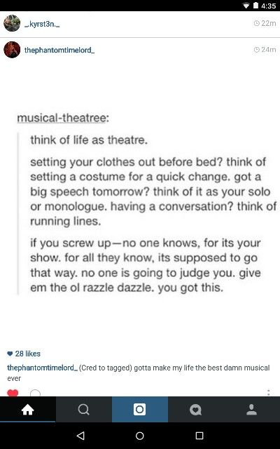 Life and musical theatre.