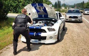 Ford Mustang Shelby GT 500 Pulled Over, Police Officer Photographs Engine Bay - autoevolution for Mobile