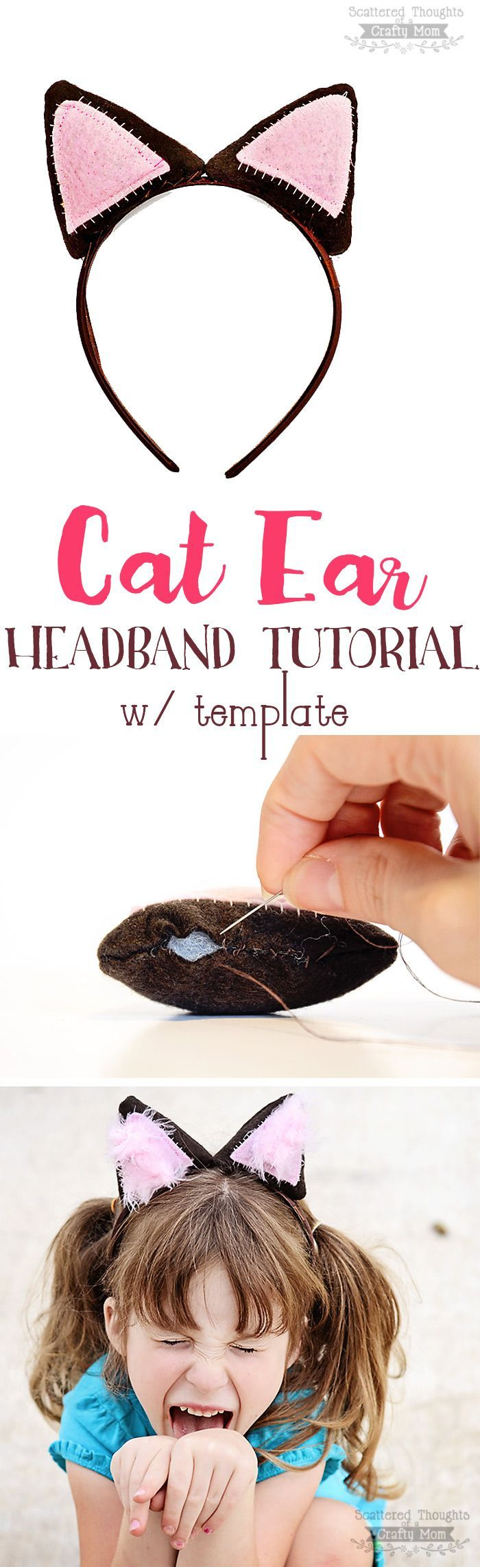 DIY Cat Ear Headband Tutorial w/ Template Dress up, Cats