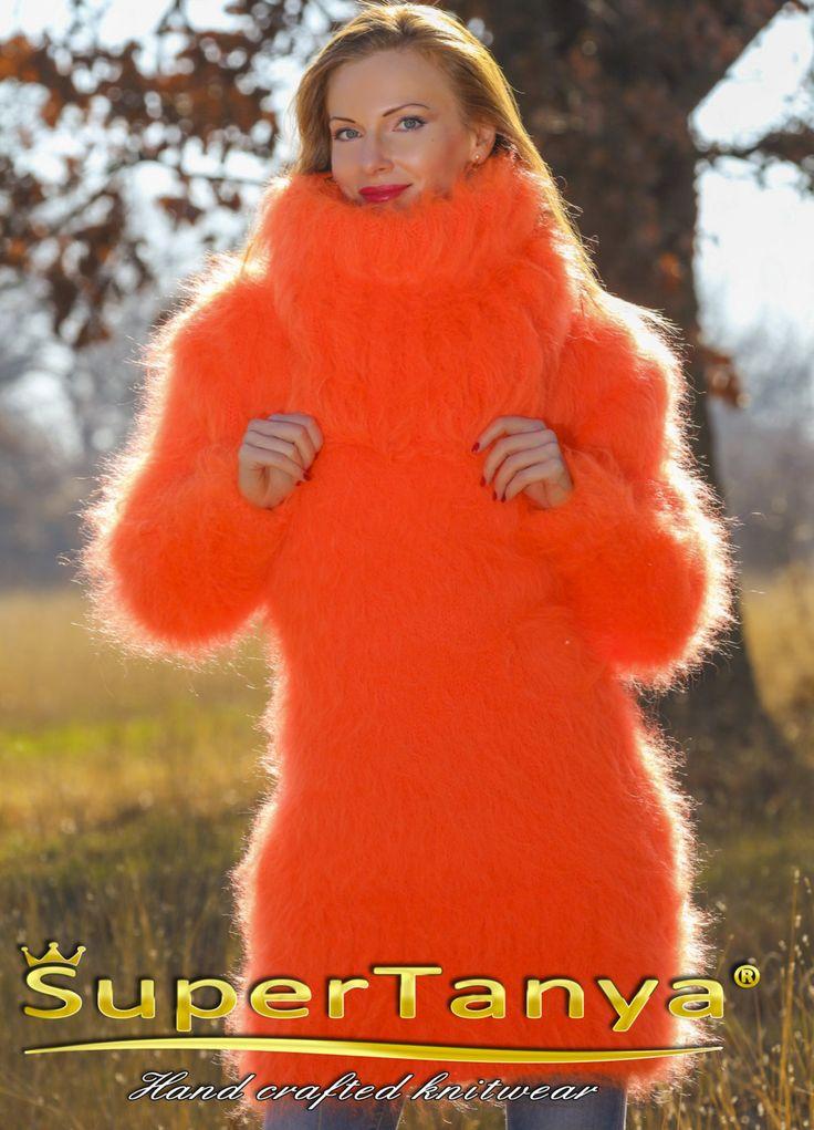 Fuzzy handgestrickte orange Mohair Pulloverkleid mit von supertanya